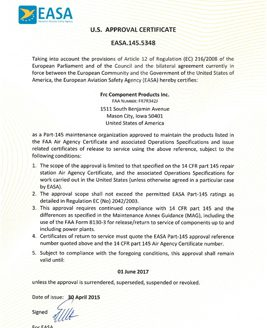 EASA approval certificate