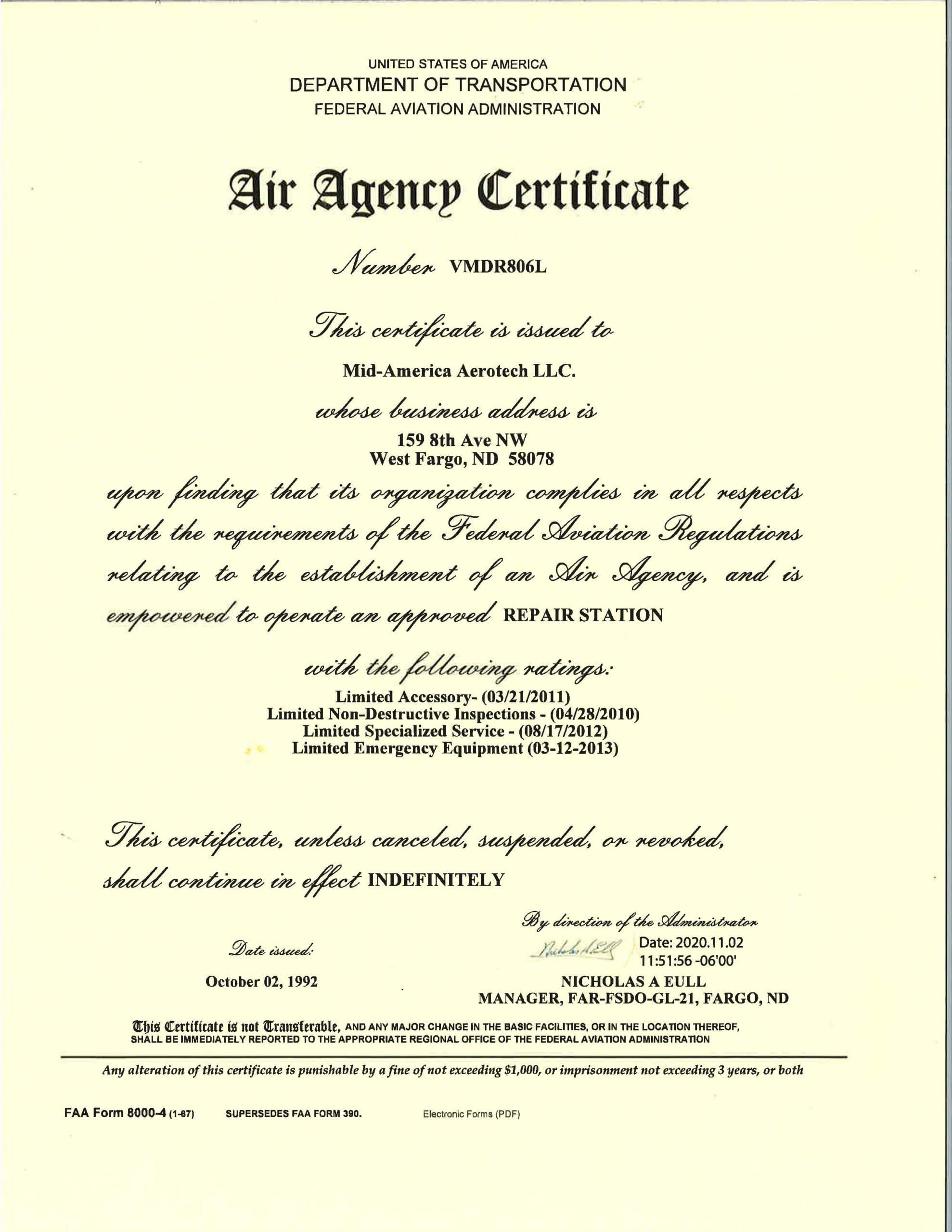 MAA Air Agency Certificate VMDR806L